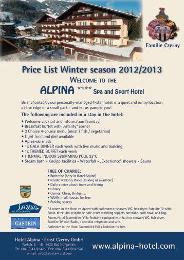 Pricelist-Winter-D12-13 – PDF - Hotel Alpina in Bad Hofgastein