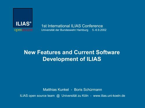 New Features and Current Software Development of ILIAS