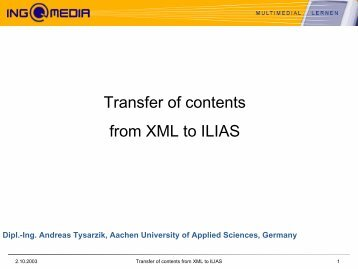 Transfer of contents from XML to ILIAS - ILIAS Conference