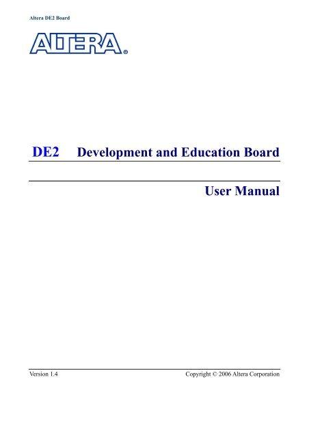 Altera DE2 Development and Education Board User Manual
