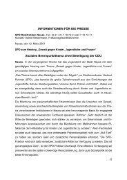 INFORMATIONEN FÜR DIE PRESSE - SPD Neuss