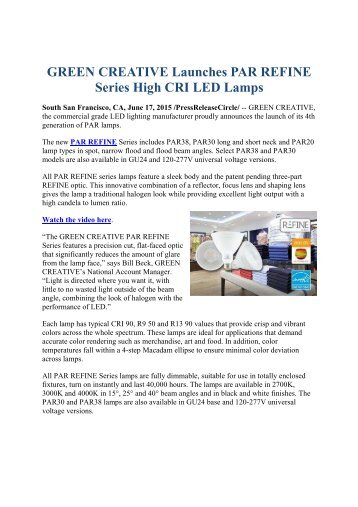 GREEN CREATIVE Launches PAR REFINE Series High CRI LED Lamps