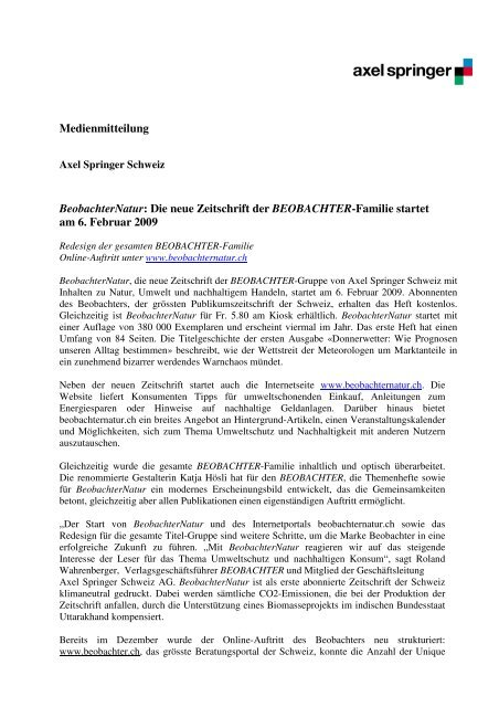 Medienmitteilung Beobachter 05.02.09
