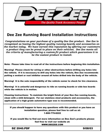 dee zee running board installation instructions deezee instructions?quality=85 step board kit 27 1365 installation instructions westin automotive  at edmiracle.co
