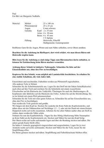 1 Paul Ein Bär von Margarete Nedballa Material: Mohair 25 x 140 ...