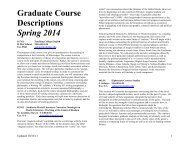 Spring 2014 Course Offerings (Graduate) - University of Mississippi