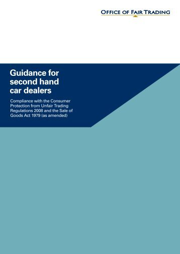 Guidance for second hand car dealers - Office of Fair Trading