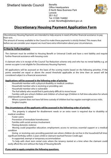 NIHE Discretionary Housing Payment application form