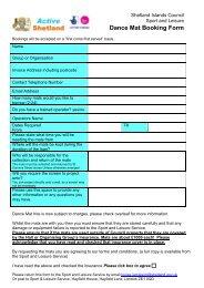 Dance Mat Booking Form - Shetland Islands Council