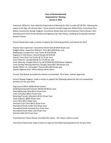 2012 Organizational Meeting Town Board Meeting - Town of ...