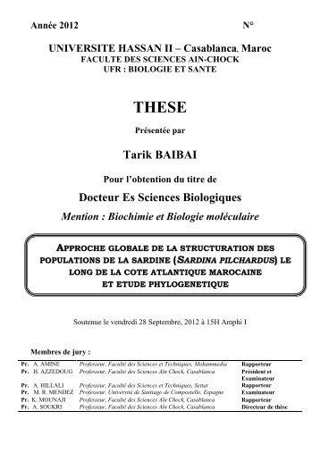 Tarik BAIBAI Docteur Es Sciences Biologiques - Faculté des ...