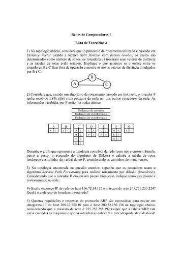 Redes de Computadores I Lista de Exercícios 2 1) Na ... - UFF
