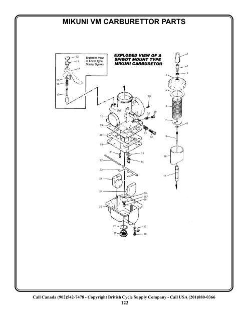 Mikuni Vm Carburettor Parts