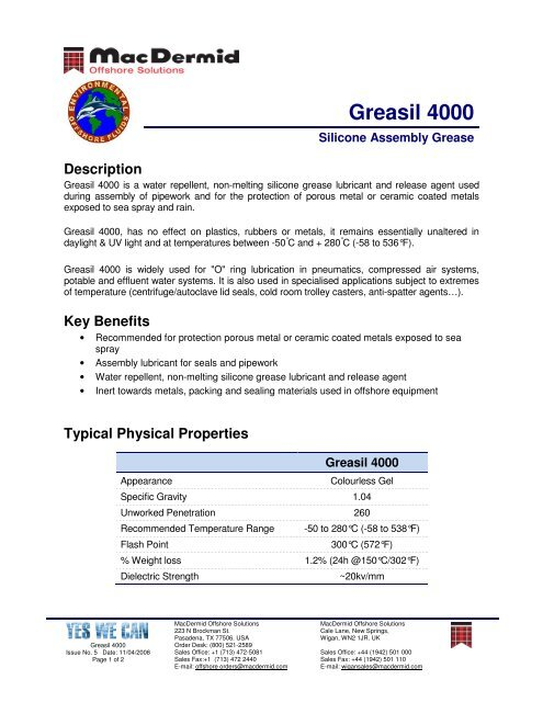 Greasil 4000 - MacDermid Offshore Solutions