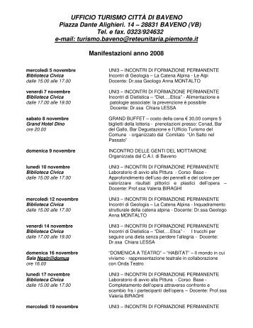 UFFICIO TURISMO CITTÀ DI BAVENO Piazza Dante Alighieri. 14 – 28831 ...