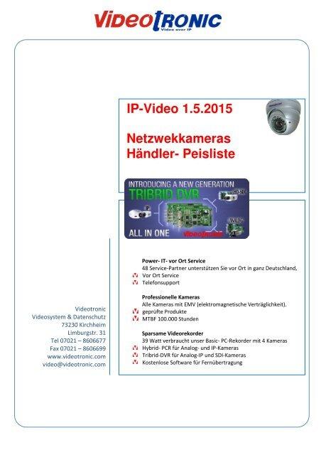 Händlerpreisliste für IP-Video gültig ab 01.05.15