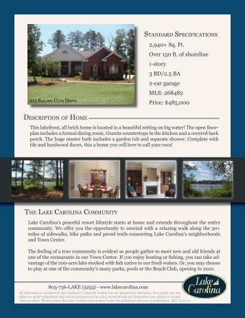 2,940+ Sq. Ft. Over 150 ft. of shoreline 1-story 3 BD ... - Lake Carolina