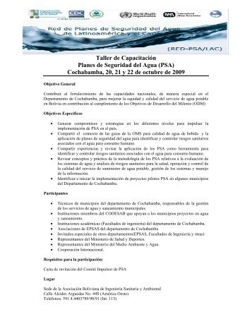 Taller de Capacitación Planes de Seguridad del Agua (PSA ... - AIDIS