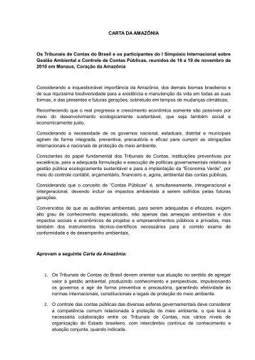 CLIQUE AQUI e leia o conteúdo da Carta da Amazônia