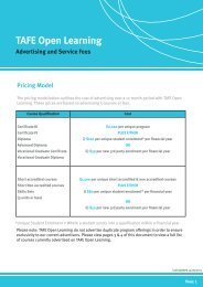 TAFE Open Learning Advertising and Service Fees