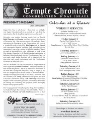 January 2012 - Temple B'nai Israel