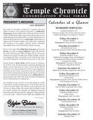 December 2011 - Temple B'nai Israel
