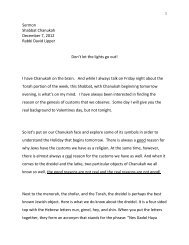 Sermon Shabbat Chanukah December 7, 2012 Rabbi David Lipper ...