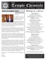 October 2013 - Temple B'nai Israel