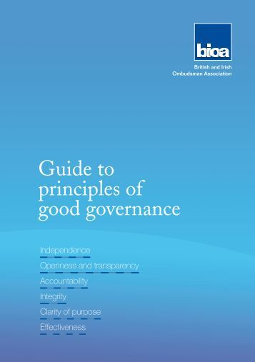 the important principles of governance Measuring the effectiveness of corporate governance  measuring the effectiveness of corporate governance  governance is important for the sustainability of.