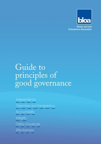 the OA Guide to principles of good governance - British and Irish ...