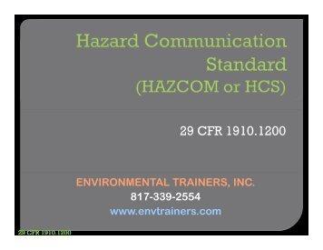 Hazard Communication Standard (HAZCOM or HCS)
