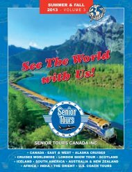 Senior Tours Canada Summer & Fall 2013 – Volume 3