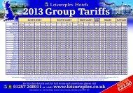 2013 Group Tariffs - Leisureplex Hotels