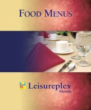 FOOD MENUS - Leisureplex Hotels