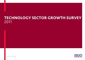 Technology SecToR gRoWTh SURVey 2011 - BDO