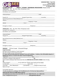 BOOKING FORM – Trip # 531 Sunny Cowgirls ... - Go See Touring