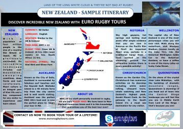 NEW ZEALAND - SAMPLE ITINERARY - Euro Rugby Tours