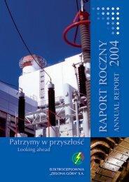 RAPOR T R OC ZNY 2004 - Elektrociepłownia