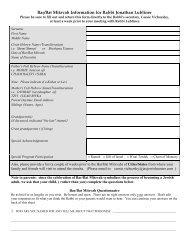 Bar or Bat Mitzvah Information - the Jacksonville Jewish Center