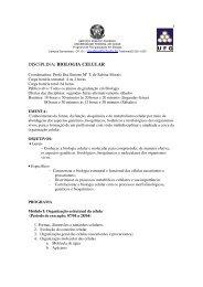DISCIPLINA: BIOLOGIA CELULAR - UFG