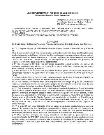 lei complementar nº 769, de 30 de junho de 2008 - Portais UFG