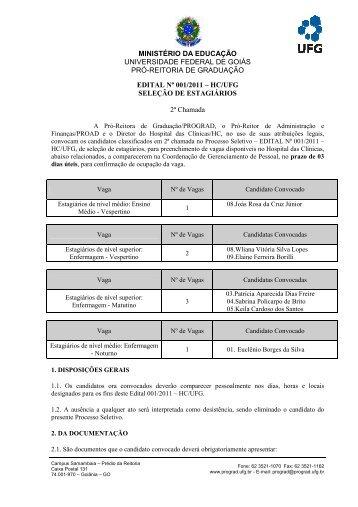 Selecao de Estagiarios_Edital 001 ... - Portais UFG