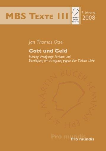 Gott und Geld - Martin Bucer Seminar