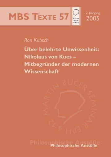 Über belehrte Unwissenheit - Martin Bucer Seminar