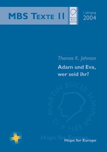 Adam und Eva, wer seid ihr? - Martin Bucer Seminar