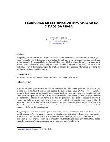Seguranca dos SI na Praia - V2.pdf - Universidade Jean Piaget de ...