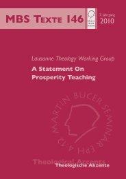 A Statement On Prosperity Teaching - Martin Bucer Seminar