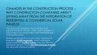 Changes in the Construction Process – Why Construction Companies Aren't Shying Away from the Integration of Residential & Commercial Solar Panels?