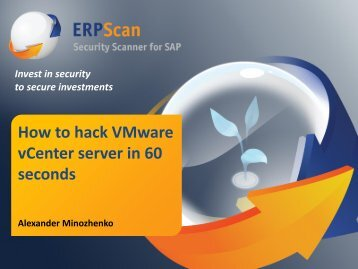 How to hack VMware vCenter server in 60 seconds - ERPScan