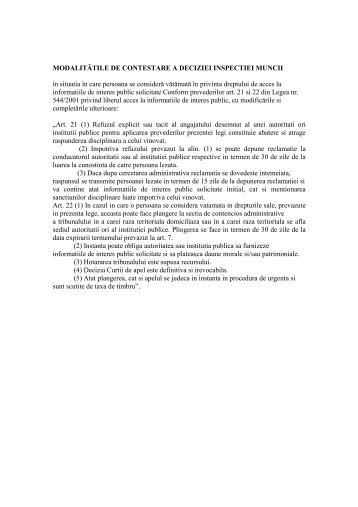 MODALITĂTILE DE CONTESTARE A DECIZIEI ... - ITM Botosani